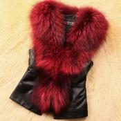 Lovely Casual V Neck Patchwork Wine Red Vests