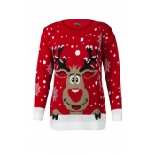 Lovely Casual O Neck Christmas Deer Red Plus Size