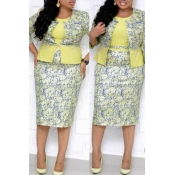 Lovely Casual Printed Yellow  Plus Size Two-piece