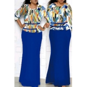Lovely Casual Printed Dark Blue Floor Length Plus