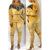 Lovely Casual Patchwork Yellow Plus Size Two-piece