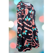 Lovely Christmas Day Printed Black Knee Length Plu