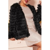 Lovely Casual Ruffle Design Black Plus Size Coat