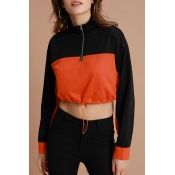 Lovely Sportswear Patchwork Jacinth  Cotton Hoodie