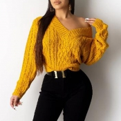 Lovely Casual V Neck Yellow Sweater