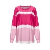 Lovely Casual O Neck Printed Pink Sweatshirt Hoodi