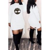 Lovely Trendy Printed White Mini Dress