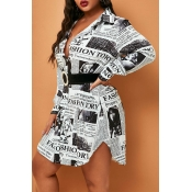 Lovely Casual Printed Black Plus Size Mini Dress