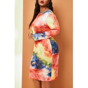 Lovely Casual O Neck Printed Multicolor Knee Lengt