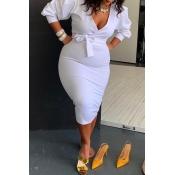 Lovely Casual V Neck White Mid Calf Plus Size Dres