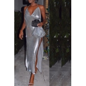 Lovely Party Side High Slit Silver Ankle Length Pr
