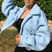 Lovely Casual Buttons Design Blue Teddy Coat