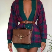 Lovely Casual Plaid Printed Multicolor Dress(Witho