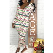 Lovely Casual Striped Skinny Multicolor One-piece Jumpsuit