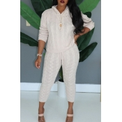 Lovely Casual Hooded Collar White Two-piece Pants
