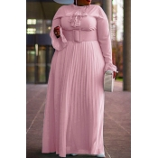 Lovely Casual Ruffle Design Pink Floor Length Plus
