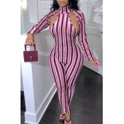 Lovely Casual Striped Hollow-out Red One-piece Jumpsuit