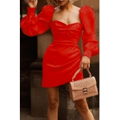 Lovely Trendy Ruffle Design Red Mini Dress