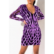 Lovely Party V Neck Patchwork Purple Mini Dress