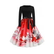 Lovely Sweet Printed Red Mid Calf Dress