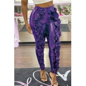 Lovely Trendy Flounce Design Purple Pants