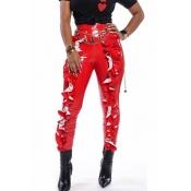 Lovely Trendy Flounce Design Red Pants