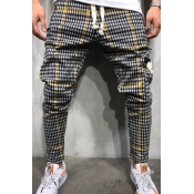 Lovely Casual Plaid Ptinted Yellow Pants