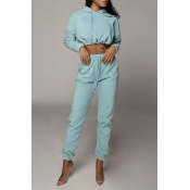 Lovely Casual Crop Top Baby Blue Two-piece Pants S