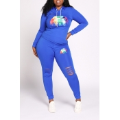 Lovely Casual Lip Printed Blue Plus Size Two-piece