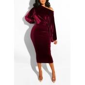 Lovely Work Dew Shoulder Wine Red Mid Calf Dress