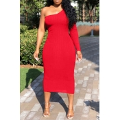 Lovely Trendy One Shoulder Red Mid Calf Dress