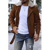 Lovely Casual Turndown Collar Khaki Leather