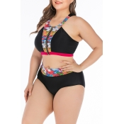 Lovely Patchwork Black Plus Size Two-piece Swimwea