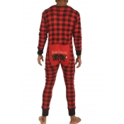 Lovely Family Plaid Printed Red And Black Father O