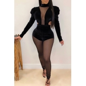 Lovely Sexy Patchwork See-through Black One-piece