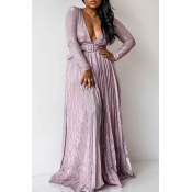 Lovely Sweet Deep V Neck Pink Dress