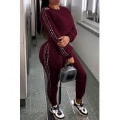 Lovely Casual O Neck Patchwork Wine Red Two-piece