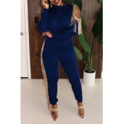 Lovely Party Tassel Design Blue Two-piece Pants Set