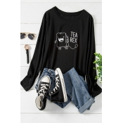 Lovely Casual O Neck Letter Black Plus Size T-shir