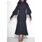 Lovely Sweet Turtleneck Black Ankle Length Dress