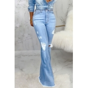 Lovely Casual Flared Baby Blue Jeans
