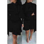 Lovely Sweet Flounce Design Black Knee Length Dres