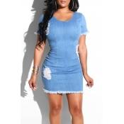 Lovely Leisure O Neck Raw Edge Blue Mini Dress