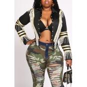 Lovely Chic Tassel Design Black Jacket