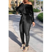 Lovely Casual Dew Shoulder Black One-piece Jumpsui