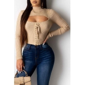 Lovely Chic Hollow-out Khaki Sweater