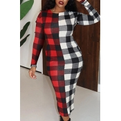 Lovely Casual Plaid Red Mid Calf Dress