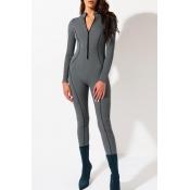 Lovely Sportswear Skinny Grey One-piece Jumpsuit