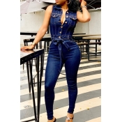 Lovely Trendy Buttons Blue One-piece Jumpsuit