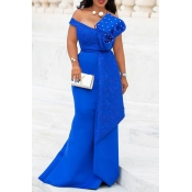 Lovely Party Ruffle Design Blue Trailing Evening D